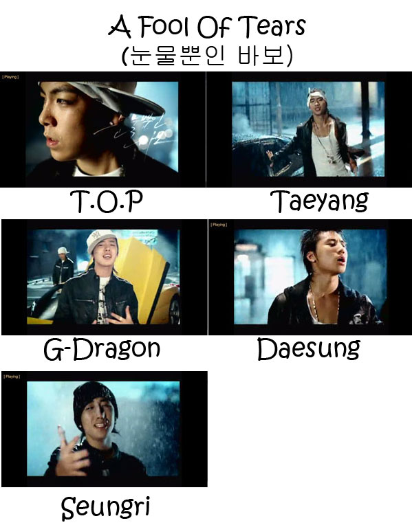 "The members of Big Bang in the ""A Fool Of Tears"" MV"