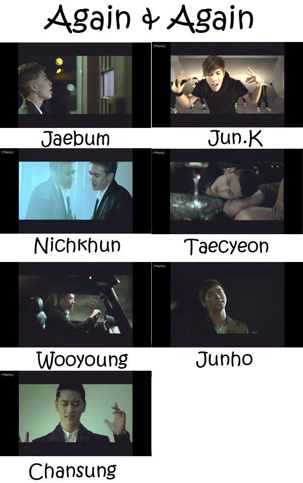 "Images of the 2PM members in the ""Again & Again"" MV"