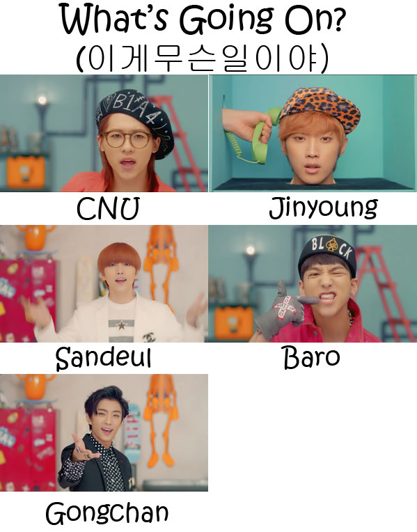 "The members of B1A4 in the MV for ""Whats Going On"""