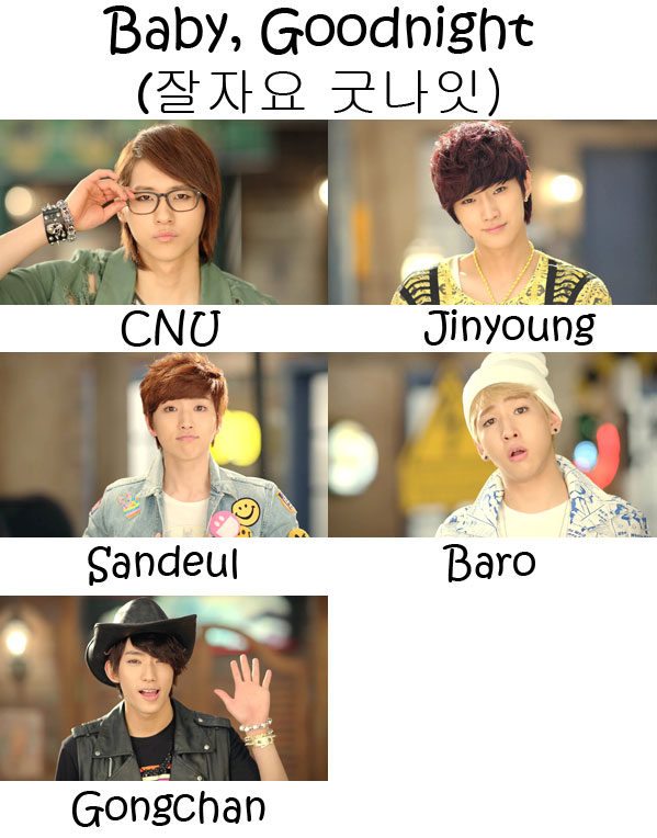 "The members of B1A4 in the ""Baby, Goodnight"" MV"
