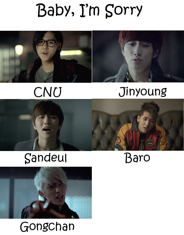 "The members of B1A4 in the ""Baby, I'm Sorry"" MV"