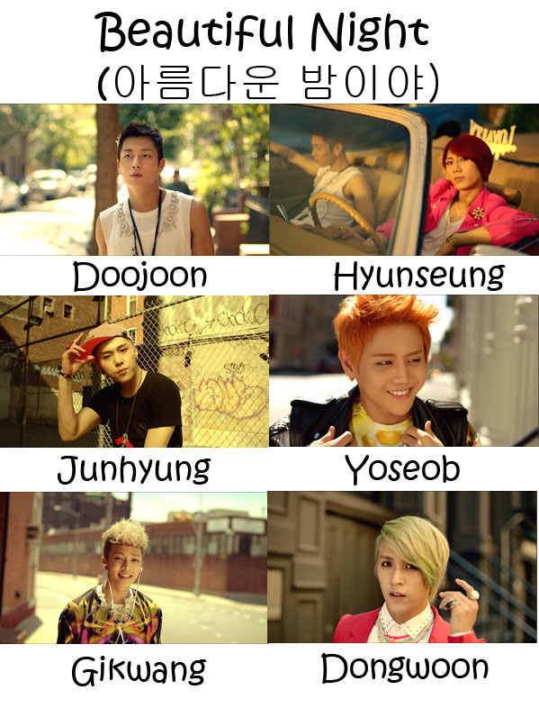 "The Members of Beast in the ""Beautiful Night"" MV"