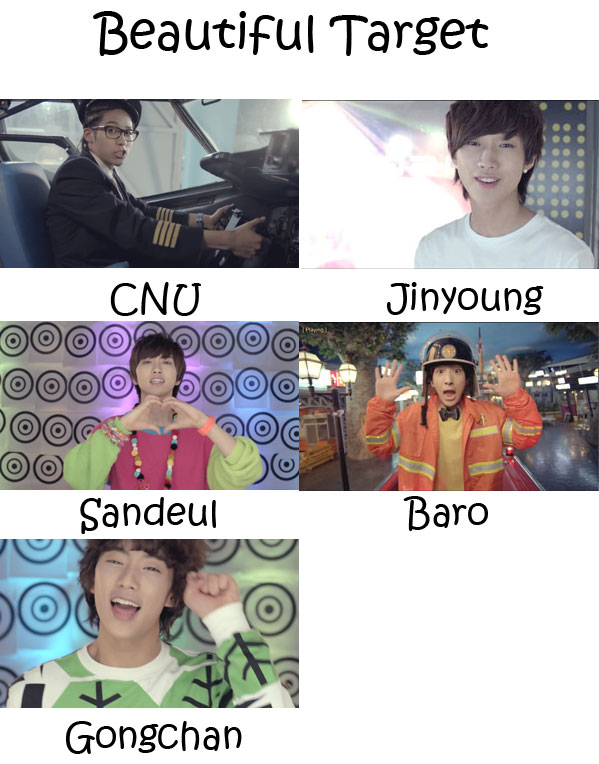 "The members of B1A4 in the ""Beautiful Target"" MV"