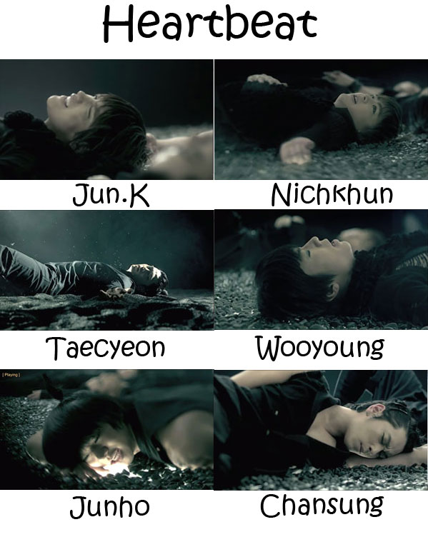 "Images of the 2PM members in the ""Heartbeat"" MV"