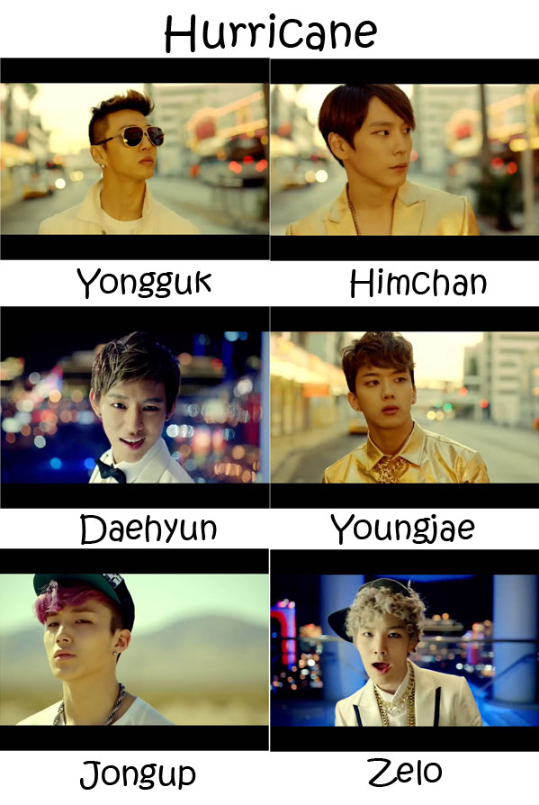 "Images of the B.A.P members in the ""Hurricane"" MV"
