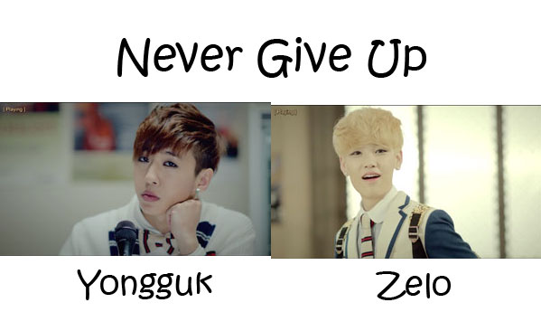 "Bang Yongguk and Zelo from B.A.P in the ""Never Give Up"" MV"