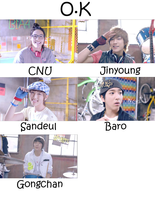 "The members of B1A4 in the ""OK"" MV"