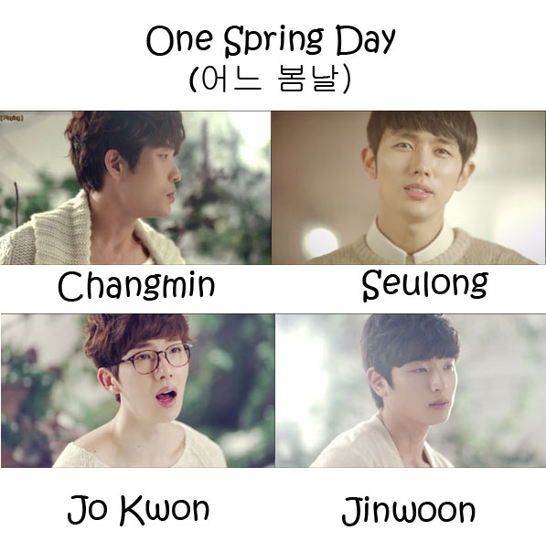 "The members of 2AM in the ""One Spring Day"" MV"