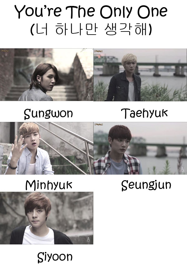 "The members of A-Prince in the ""You're The Only One"" MV"