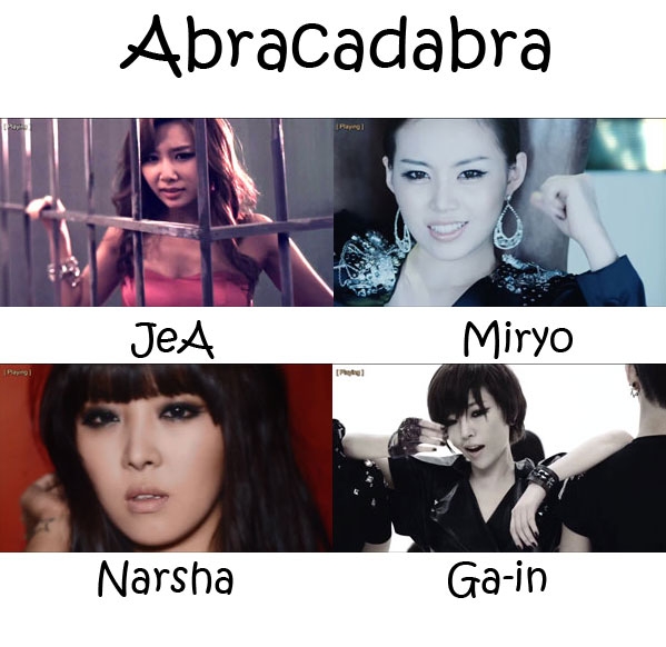 "The members of Brown Eyed Girls in the ""Abracadabra"" MV"