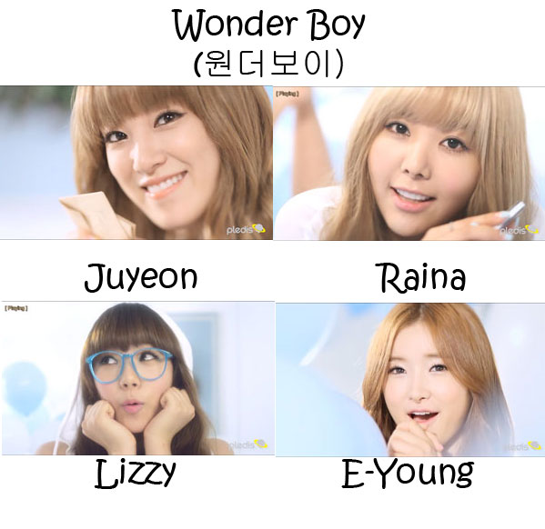 "The members of AS Blue in the ""Wonder Boy"" MV"