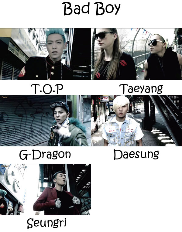 "The members of Big Bang in the ""Bad Boy"" MV"