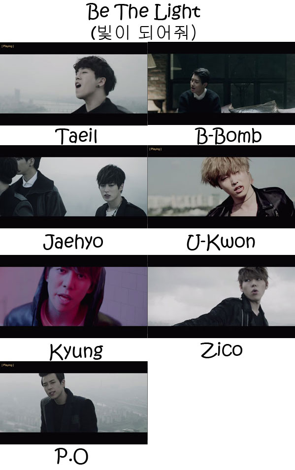 "The members of Block B in the ""Be The Light"" MV"