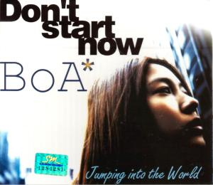 "The album art for BoA's album ""Don't Start Now; Jumping Into The World"""