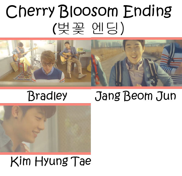 "The members of Busker Busker in the ""Cherry Blossom Ending"" MV"