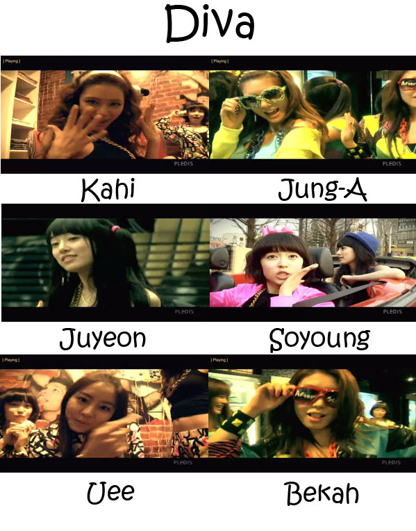 "The members of After School in the ""Diva"" MV"