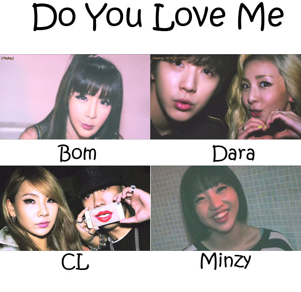 "The members of 2NE1 in the ""Do You Love Me"" MV"
