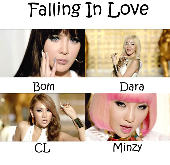 "The members of 2NE1 in the ""Falling In Love"" MV"