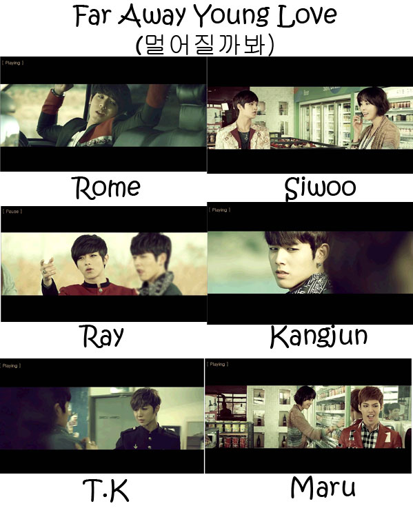"The members of C-Clown in the ""Far Away Young Love"" MV"