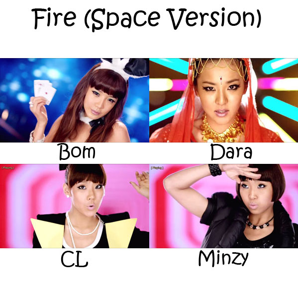 "The members of 2NE1 in the ""Fire (Space Version)"" MV"