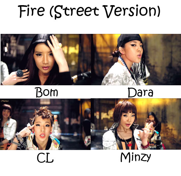 "The members of 2NE1 in the ""Fire (Street Version)"" MV"