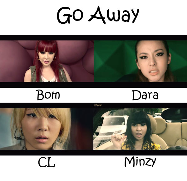 "The members of 2NE1 in the ""Go Away"" MV"
