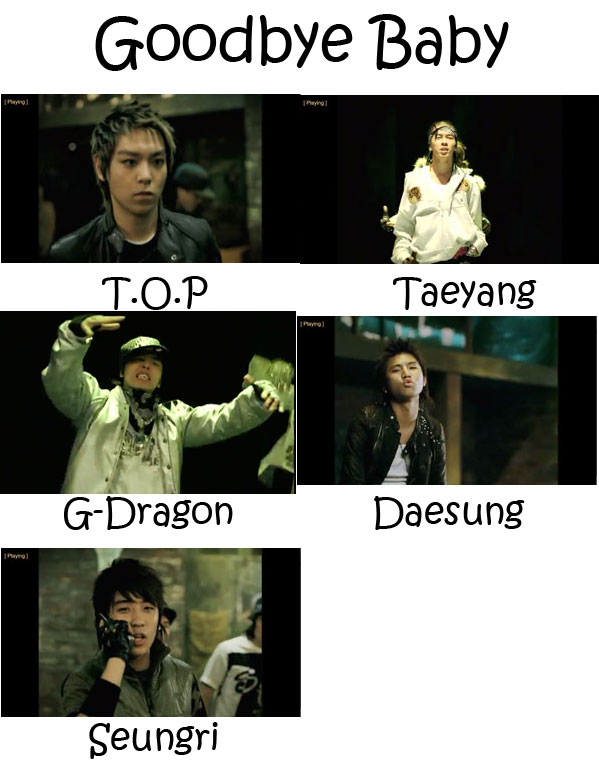 "The members of Big Bang in the ""Goodbye Baby"" MV"