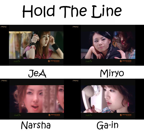 "The members of Brown Eyed Girls in the ""Hold The Line"" MV"
