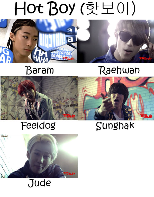 "The members of BIGSTAR in the ""Hot Boy"" MV"