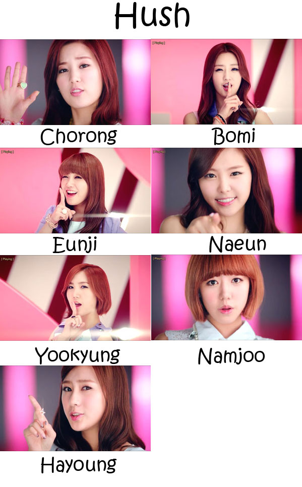 "The members of APink in the ""Hush"" MV"