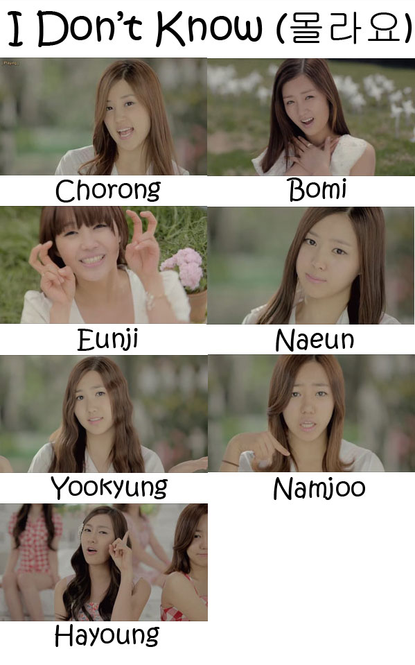 "The members of APink in the ""I Don't Know"" MV"