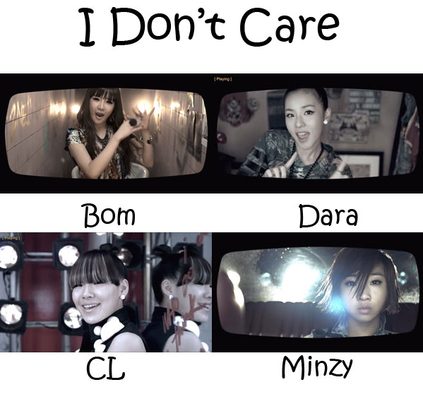"The members of 2NE1 in the ""I Don't Care"" MV"