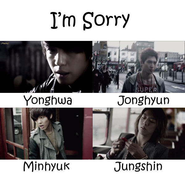"The members of CNBLUE in the ""I'm Sorry"" MV"