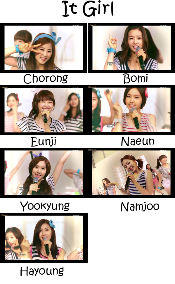 "The members of Apink in the ""It Girl"" MV"