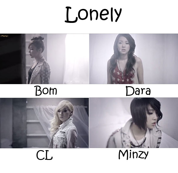 "The members of 2NE1 in the ""Lonely"" MV"