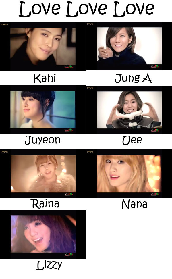 "The members of After School in the ""Love Love Love"" MV"