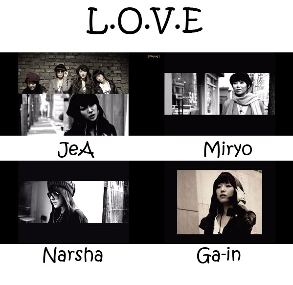 "The members of Brown Eyed Girls in the ""L.O.V.E"" MV"