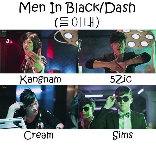 """The members of M.I.B in the """"Men In Black/Dash"""" MV"""