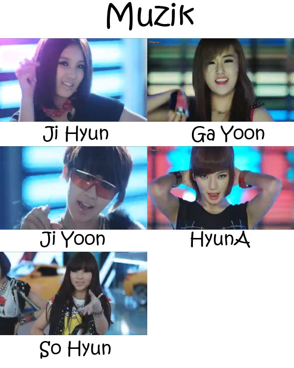 "The members of 4Minute in the ""Muzik"" MV"