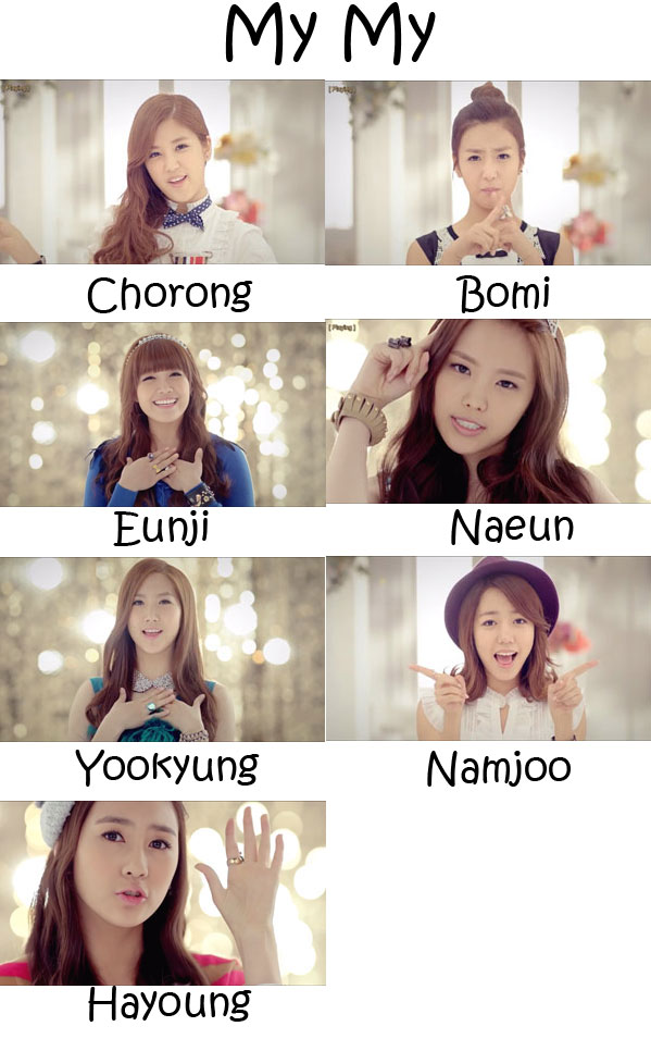 "The members of Apink in the ""My My"" MV"
