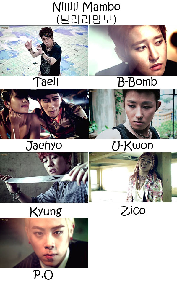 "The members of Block B in the ""Nillili Mambo"" MV"
