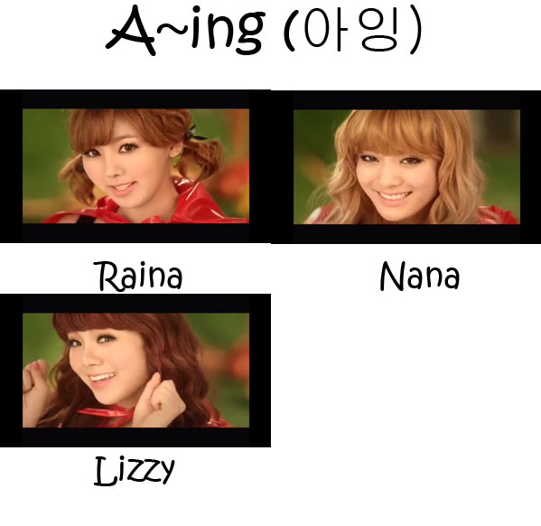 "The members of Orange Caramel in the ""A~ing"" MV"