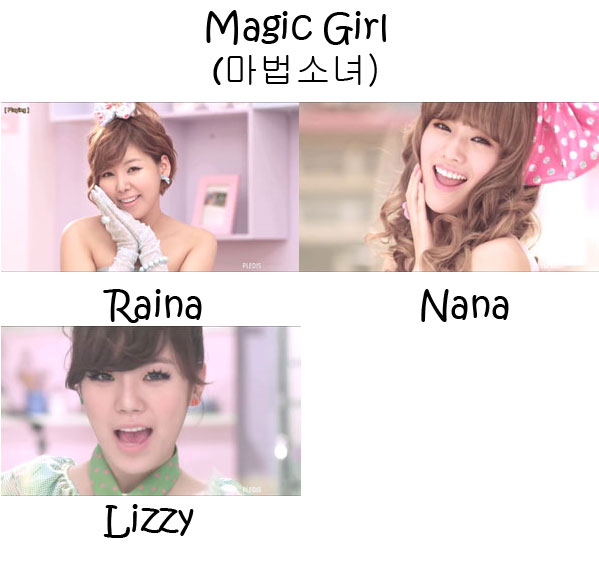 "The members of Orange Caramel in the ""Magic Girl"" MV"