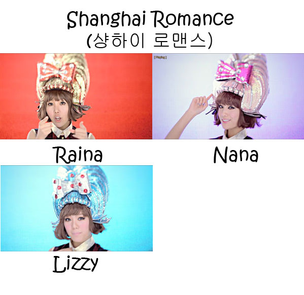 "The members of Orange Caramel in the ""Shanghai Romance"" MV"
