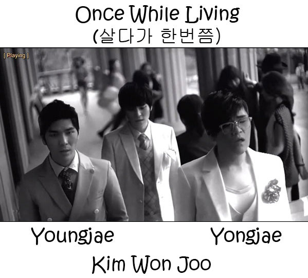 "The members of 4Men in the ""Once While Living"" MV"
