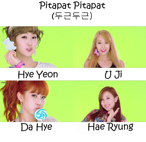 "The members of BESTie in the ""Pitapat Pitapat"" MV"
