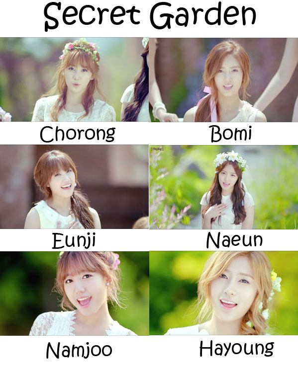 "The members of Apink in the ""Secret Garden"" MV"