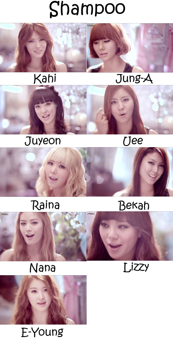 "The members of After School in the ""Shampoo"" MV"