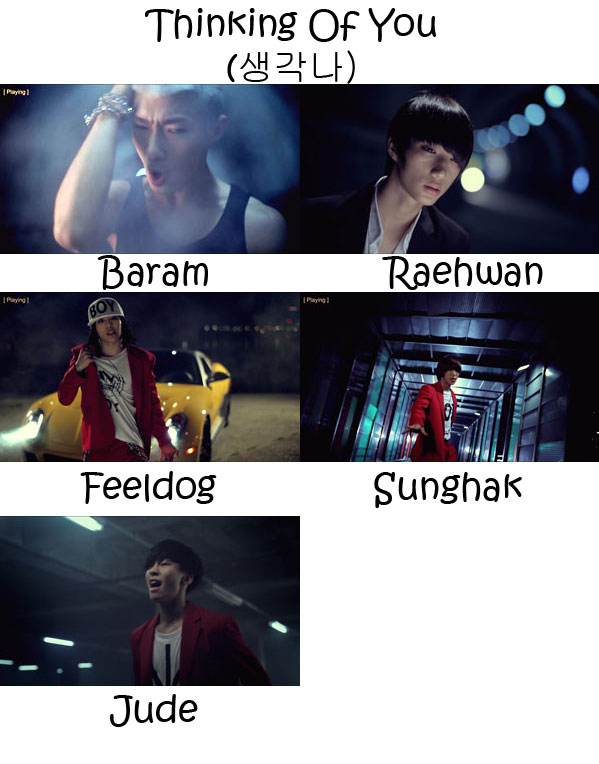 "Images of the members of BIGSTAR in the ""Thinking Of You"" MV"