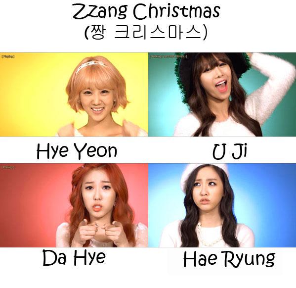 "The members of BESTie in the ""Zzang Chritsmas"" MV"